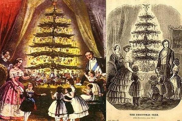 Αριστερά το χριστουγεννιάτικο δένδρο της βασίλισσας Βικτωρίας και του πρίγκιπα Αλβέρτου και δεξιά η αμερικάνικη εκδοχή, που δημοσιεύτηκε στο Godey's Lady's Book